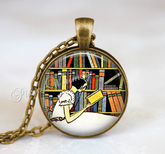 BOOK  LOVER Necklace Pendant Jewelry Keychain Reading Library Librarian Bookshelf Nerd Student Gift for Librarian Vintage Clock Bibliophile