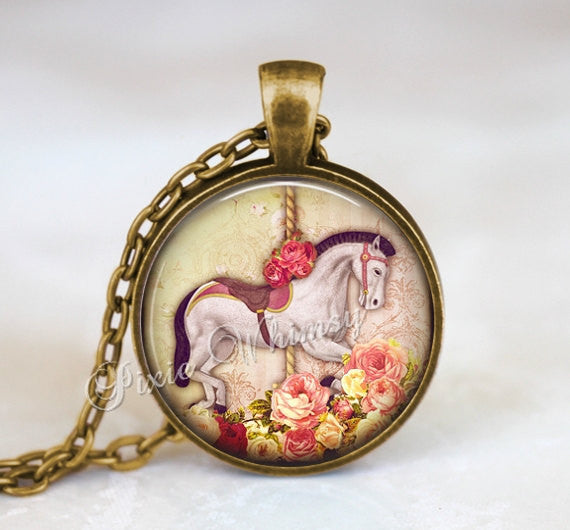 CAROUSEL HORSE Pendant Necklace Keychain Circus Jewelry Carnival Vintage Merry Go Round Amusement Park Gift For Horse Lover Shabby Roses