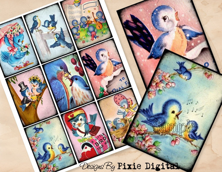 BLUEBIRD Clipart Digital Images Printable Collage Sheet Download Retro Vintage Gift Hang Tags Journal Cards ATC Scrapbooking Blue Bird