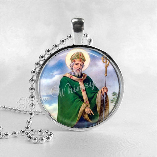 Saint Patrick Pendant Necklace, St. Patrick's Day Jewelry, Christian Gift, Glass Photo Art Necklace Christianity Irish Holiday Jewelry Green