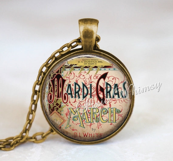 MARDI GRAS Pendant Necklace Keychain Jewelry Fat Tuesday Shrove Carnival New Orleans Louisiana Vintage Mardi Gras Art