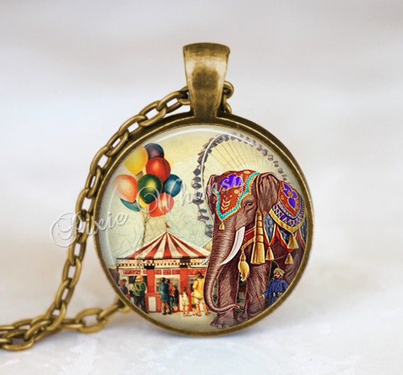 CIRCUS Pendant Necklace Keychain Jewelry Carnival Big Top Tent Elephant Sideshow Freak Show Ferris Wheel Vintage Antique Circus Art Balloons