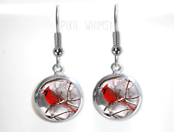 CARDINAL Earrings, Cardinal Dangle Drop Earrings Red Bird Glass Dome Photo Art Nature Jewelry Gift for Bird Lover Watcher Ornithologist