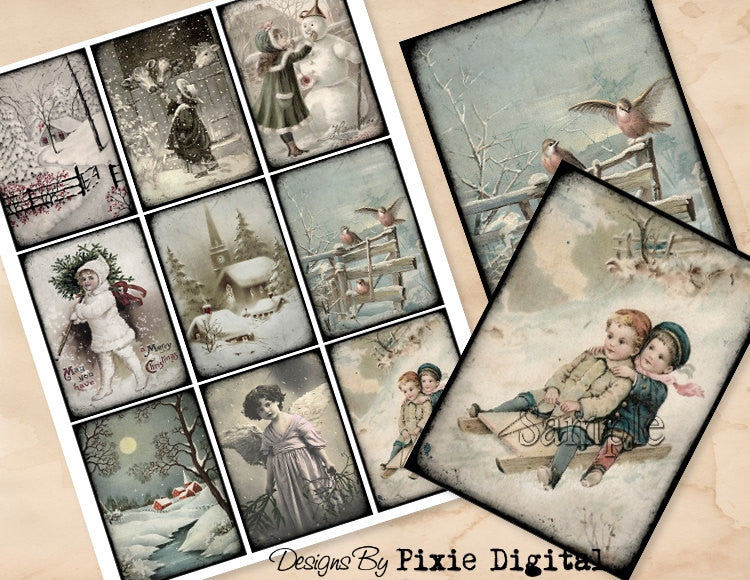 VICTORIAN CHRISTMAS Digital Collage Sheet
