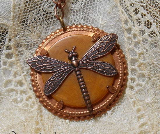 DRAGONFLY Necklace, Victorian Dragonfly Necklace, Bakelite Necklace, One Of A Kind, Assemblage, Charm Necklace, Bohemian, Copper Necklace