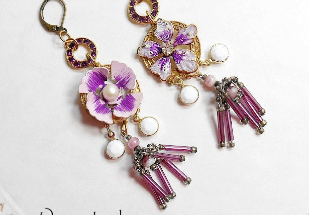 PANSY Earrings Statement Mismatched Asymmetrical One Of A Kind Charm Dangle Assemblage Purple Flower Floral Chandelier
