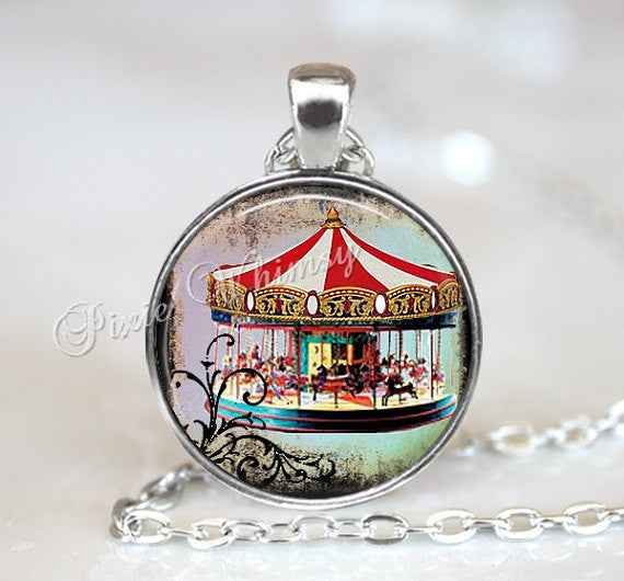 CAROUSEL Pendant Necklace Keychain Jewelry Vintage Merry Go Round Horses Carnival Big Top Tent Sideshow Freak Show Antique Circus Art