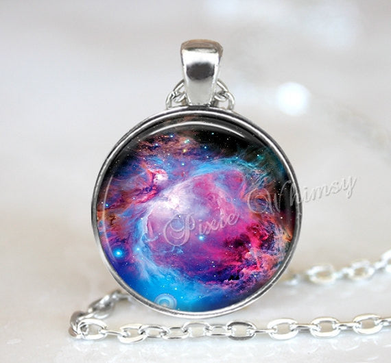 NEBULA Necklace Pendant, Galaxy Jewelry Universe Pendant Orion Nebula Jewelry or Keychain, Universe Outer Space Planet Astronomy Aqua Purple