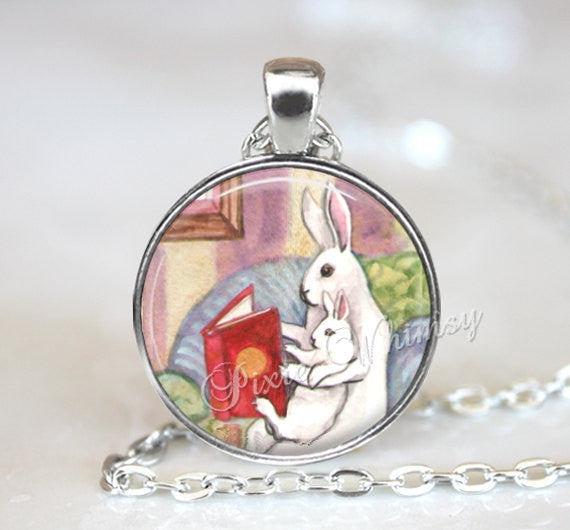 RABBIT READING BOOK Necklace Pendant Keychain Jewelry, Mother and Baby Rabbit, Book Lover Jewelry Library, Librarian, Bibliophile Watercolor