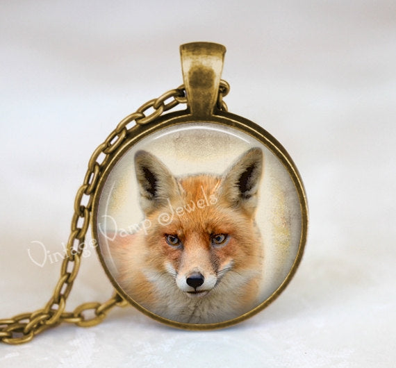 FOX Pendant Necklace, Red Fox Jewelry, Fox Art Print, Gift for Fox Lover, Woodland Nature Jewelry, Totem Animal, Silver or Bronze