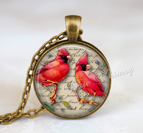 CARDINAL Pendant Necklace Jewelry, Red Cardinal Art Keychain Keyring, Illinois State Bird, Gift for Birdwatcher Bird Lover Ornithologist