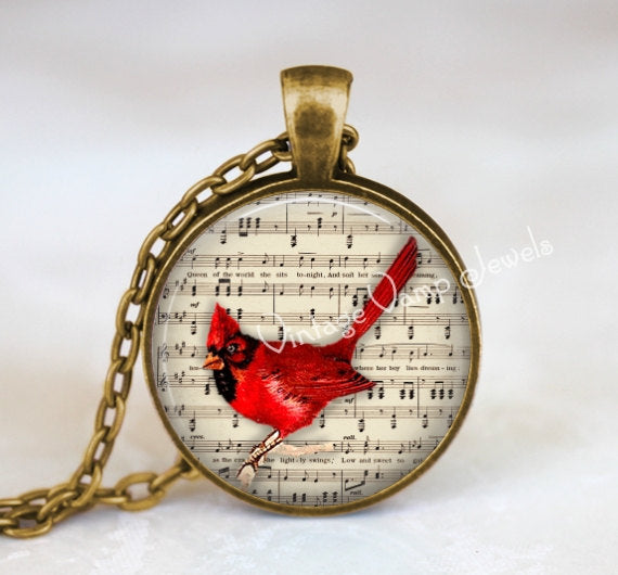 CARDINAL Pendant Necklace Jewelry, Vintage Cardinal Art Sheet Music, Cardinal Charm, Red Bird, Glass Bezel Art Pendant Necklace