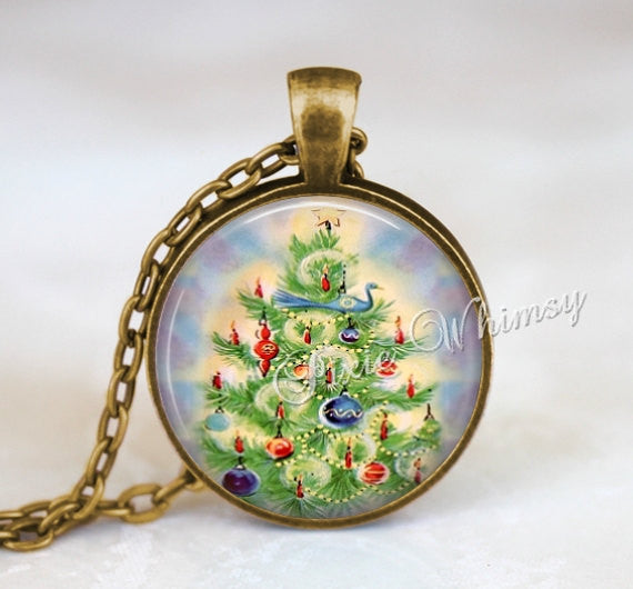 CHRISTMAS TREE Pendant Necklace Jewelry or Keychain Vintage Christmas Ornaments Retro Christmas Holiday Antique Victorian Christmas Tree