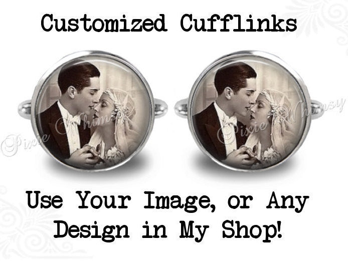 CUSTOM PHOTO Cufflinks, Personalized Cuff Links, Use Your Image, Keepsake Cufflinks, Customized Mens Accessories Gift For Men Wedding Groom