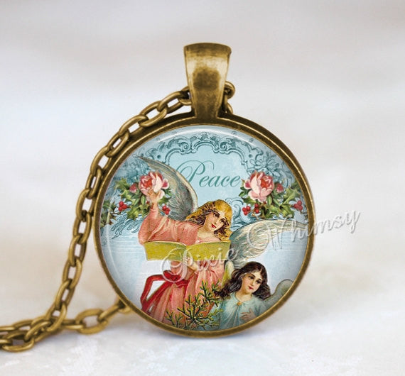 ANGEL Pendant Necklace or Keychain, Christmas Jewelry, Vintage Victorian Angels Antique Christmas Peace On Earth, Pink Shabby Cabbage Roses