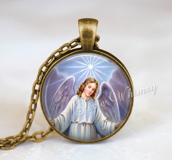 ANGEL Pendant Necklace or Keychain, Guardian Angel Jewelry, Christian Jewelry, Vintage Victorian Angels Antique Angel, Heavenly Angel