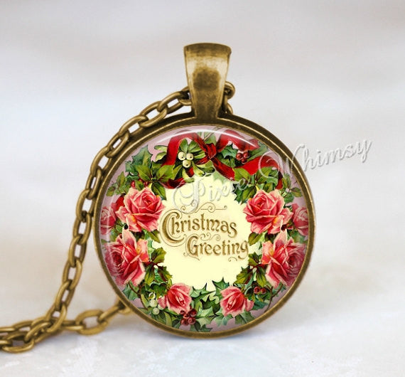 CHRISTMAS WREATH Pendant Necklace Jewelry or Keychain, Shabby Rose Wreath, Pink Cabbage Roses, Vintage Victorian Christmas Greetings