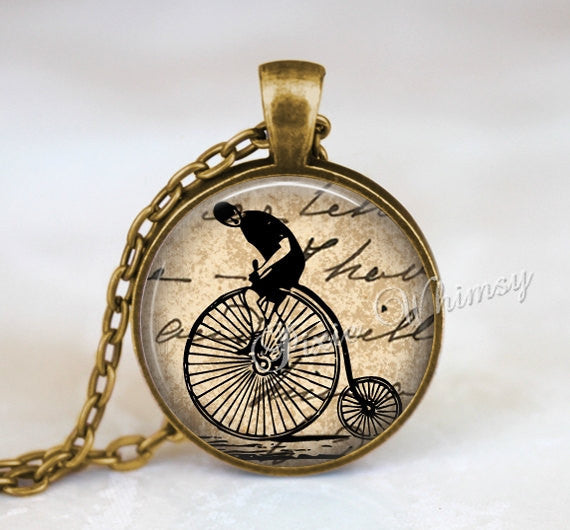 PENNY FARTHING BICYCLE Necklace Pendant Biker Hipster Jewelry or Keychain Vintage Antique English Bike Bicycle Victorian Illustration Art