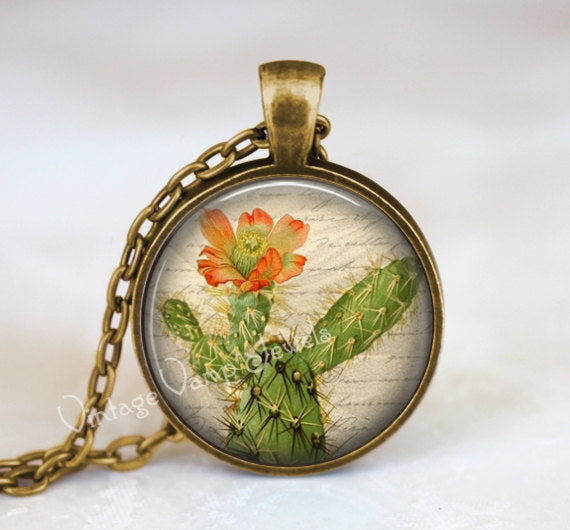 CACTUS Pendant Necklace Jewelry Cactus Flower Art Glass Pendant Necklace, Vintage Succulent Art Desert Southwestern Nature Botanical Jewelry