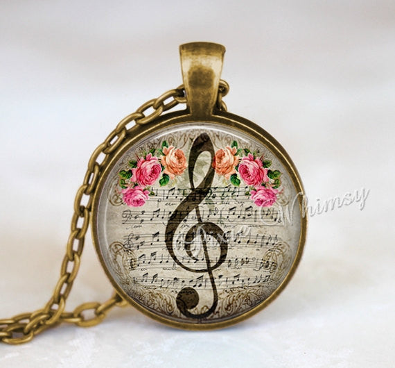 MUSIC Pendant Necklace TREBLE CLEF Jewelry G Clef Keychain, G Clef  Necklace, Music Teacher Gift, Pink Shabby Roses, Vintage Sheet Music