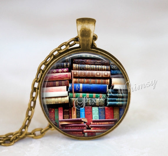 BOOK Art Pendant Necklace Keychain Library Books Keychain, Bookshelf, Gift for Librarian Book Lover, Vintage Books, Book Worm Read Reading
