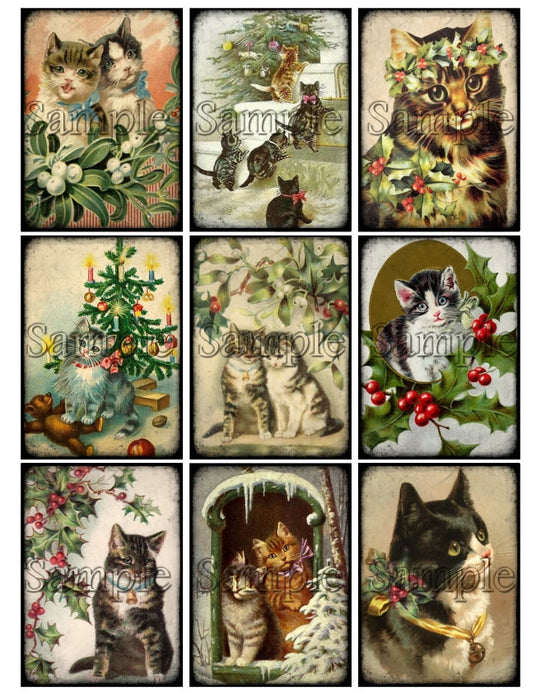 CATS CHRISTMAS Digital Collage Sheet Instant Download Printable Victorian Vintage Kitten Tags Journal Cards ATC Scrapbooking Images Clipart