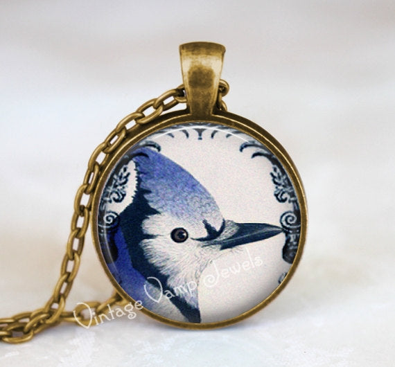 BLUE JAY Pendant Necklace Jewelry Blue Bird, Vintage Bird Art Jewelry, Gift for Bird Lover, Bird Watcher