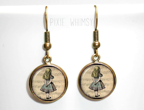 ALICE In WONDERLAND Earrings, Alice Dangle Drop Earrings, Vintage Alice in Wonderland Jewelry, Art Glass Dome Earrings, Silver or Bronze