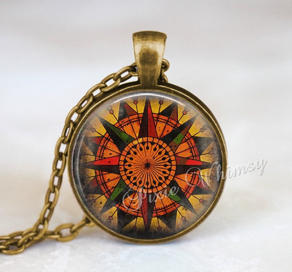 COMPASS Pendant Necklace Jewelry Keychain Antique Mariners Compass Art Nautical Steampunk Vintage Ancient Compass Rose Travel Grunge Art Map