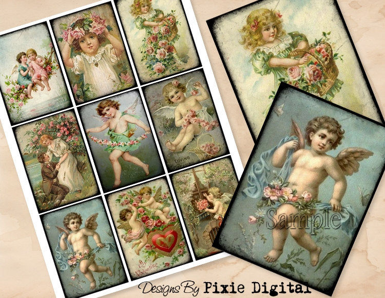 CHERUB VALENTINES DAY Digital Collage Sheet Download Printable Clipart Gift Hang Tags Victorian Card atc Scrapbooking Vintage Angel Images
