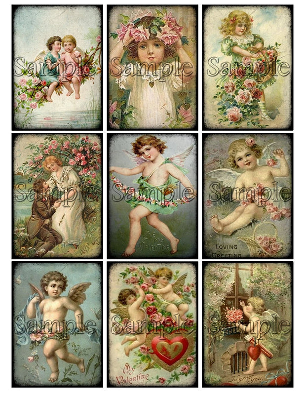 VALENTINES DAY CHERUB Digital Collage Sheet Download Printable Clipart Gift Hang Tags Victorian Card atc Scrapbooking Vintage Angel Images