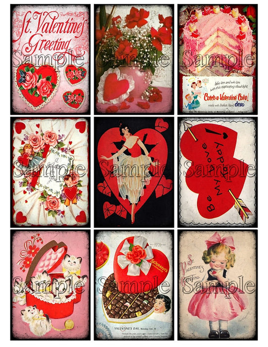 VALENTINES DAY Digital Collage Sheet Download Printable Clipart Gift Hang Tags Victorian Card ATC Scrapbooking Vintage Retro Shabby Images