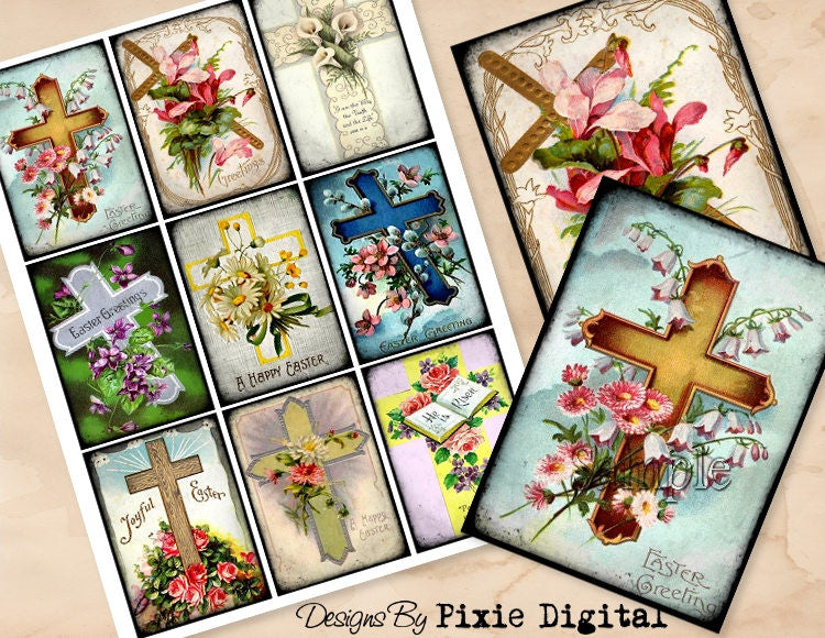 EASTER RELIGIOUS Cross Digital Collage Sheet, Instant Download, Printable Vintage Easter Tags, Journal Cards, ATC, Christian Images Holy