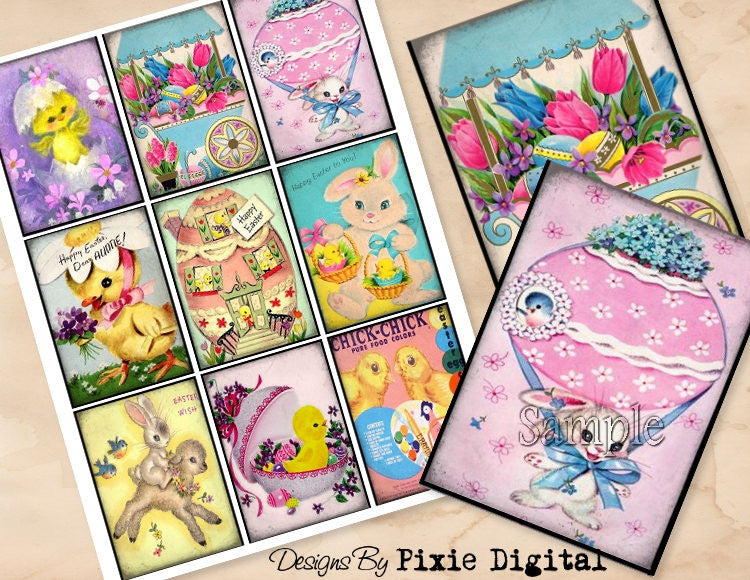 EASTER Digital Collage Sheet Download Printable Rabbit Clipart Gift Hang Tags Journal Cards ATC Scrapbooking Vintage Retro Bunny Images