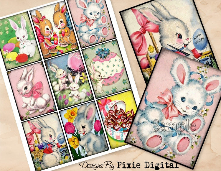 EASTER Rabbit Digital Collage Sheet Download Printable Bunny Clipart Images Gift Hang Tags Journal Cards ATC Scrapbooking Vintage Retro