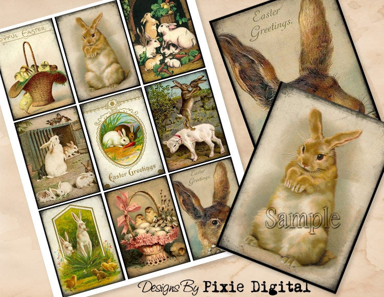 RABBIT Digital Collage Sheet Download Printable Easter Bunny Clipart Images Gift Hang Tags Journal Cards ATC Scrapbooking Vintage Victorian