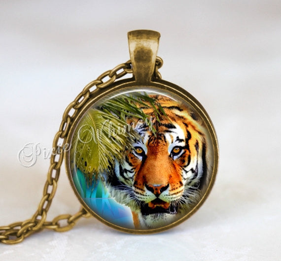 TIGER Necklace Pendant Jewelry or Keychain, Tiger Art Bohemian African Safari Animal Gift for Tiger Lover