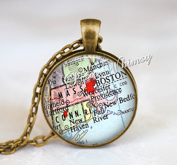 MASSACHUSETTS MAP Pendant Necklace Jewelry or Keychain Antique Vintage Boston Massachusetts State Map Jewelry