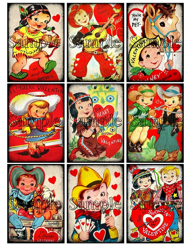 VALENTINES DAY Digital Collage Sheet Download Printable Clipart Cowboy Cowgirl Western Gift Hang Tag Card ATC Scrapbooking Vintage Images