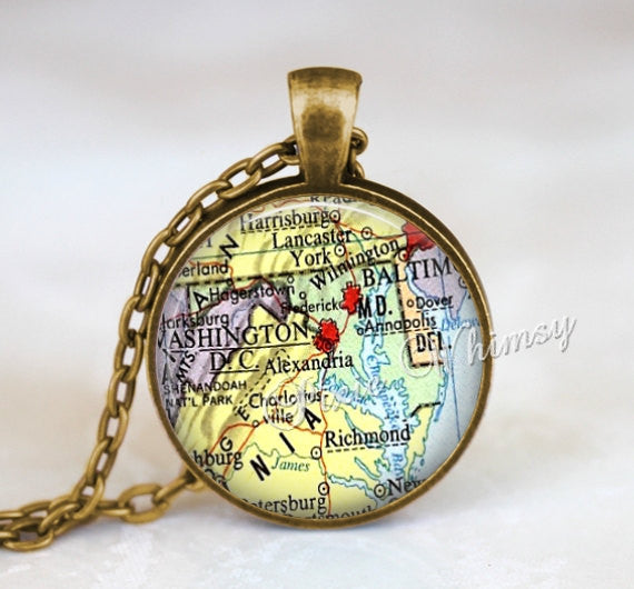MARYLAND MAP Pendant Necklace or Keychain Keyring Vintage Maryland State Jewelry
