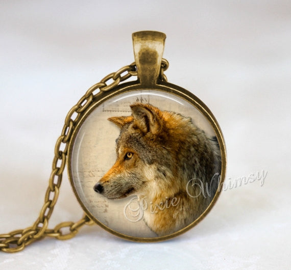 WOLF Necklace Pendant Jewelry or Keychain Keyring Wolves Wild Animal Art Gift for Wolf Lover