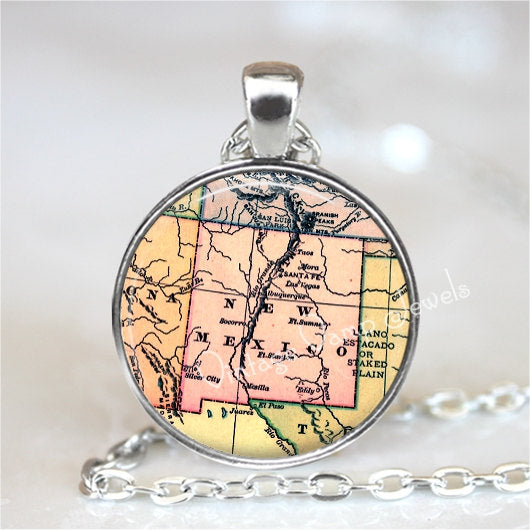 NEW MEXICO Map Pendant Necklace Glass Photo Art Vintage Map Jewelry Santa Fe Antique USA Map