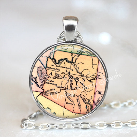 ARIZONA Map Pendant Necklace Glass Photo Art Vintage Map Jewelry Antique USA Map Phoenix Tucson Prescott