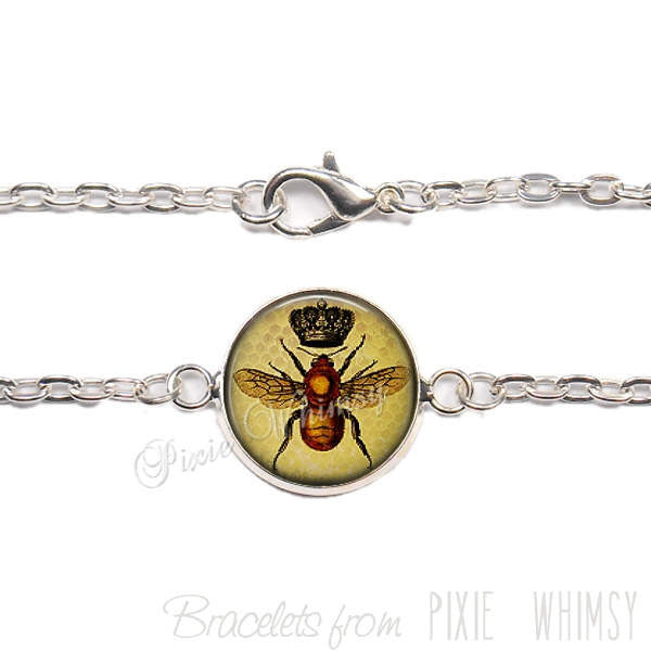 BEE Bracelet, Queen Bee Link Bracelet Honey Bee Jewelry Gift for Beekeeper Beekeeping Apiary Beehive Bee Insect Crown Hive Silver or Bronze