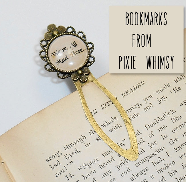 ALICE In WONDERLAND Bookmark Book Mark Reading Gift for Librarian Book Lover Nerd Literary Book Club Accessory, Silver or Bronze Metal