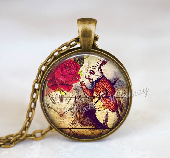ALICE In WONDERLAND Necklace Pendant or Keychain White Rabbit Antique Clock Red Shabby Roses Vintage Alice In Wonderland Jewelry,