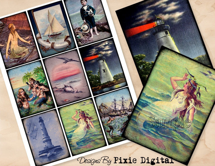 MERMAID NAUTICAL Lighthouse Digital Collage Sheet Printable Clip Art Vintage Images Download Tags Journal Cards ATC Scrapbooking Graphics