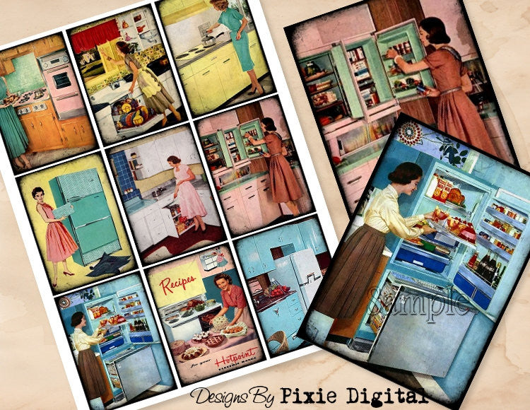 COOKING Kitchen Digital Collage Sheet Download Printable Clip Art Gift Hang Tags Cards ATC Scrapbooking Vintage Retro Appliance 1950s Images