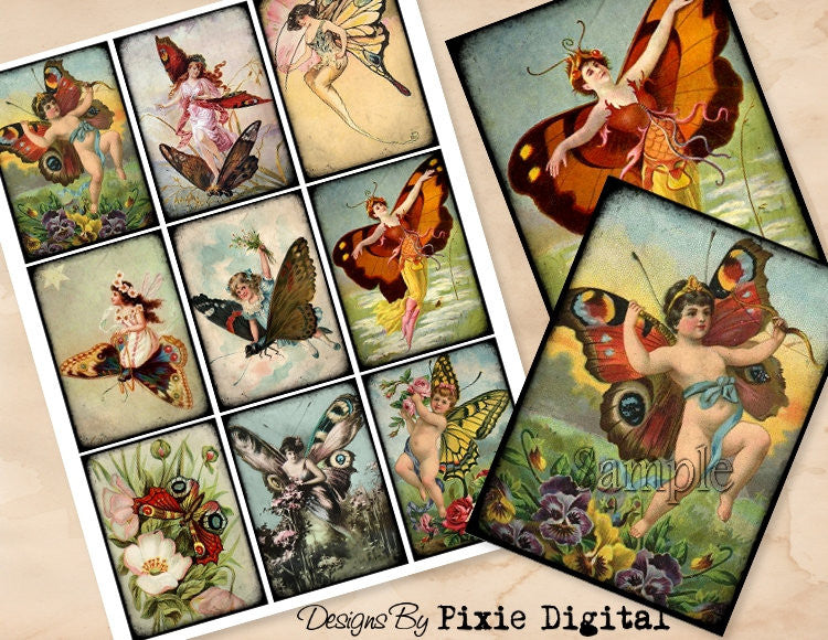 BUTTERFLY PIXIE Digital Collage Sheet Printable Clip Art Vintage Nymph Images Download Gift Tags Journal Cards ATC Scrapbooking Graphics