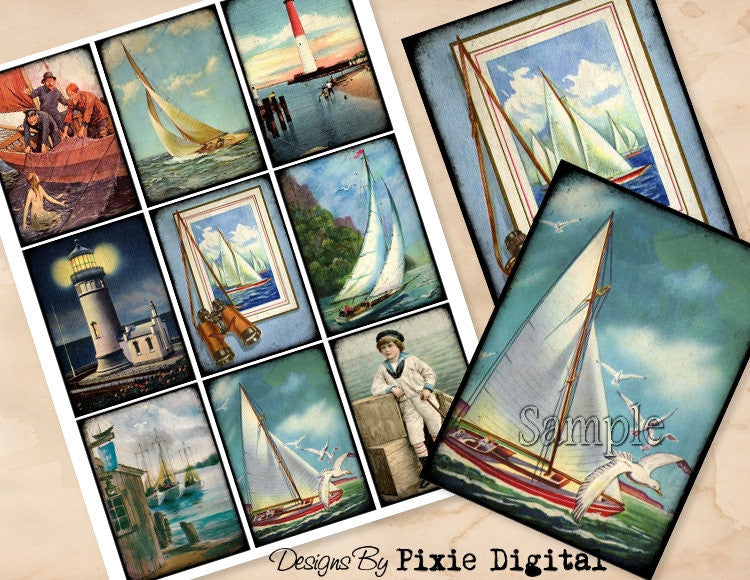 NAUTICAL SAILBOAT Lighthouse Digital Collage Sheet Printable Clip Art Vintage Images Download Tags Journal Cards ATC Scrapbooking Graphics